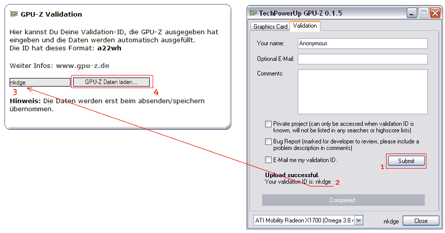 GPU-Z Validation-ID nach Sysprofile �bertragen.